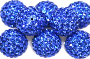 10mm Sapphire Blue 115 Stone  Pave Crystal Beads- Half Drilled PCBHD10-115-010